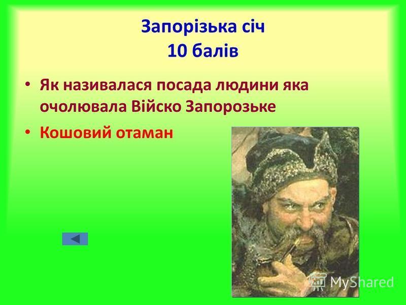 Запорізька січ 10 балів Як називалася посада людини яка очолювала Війско Запорозьке Кошовий отаман