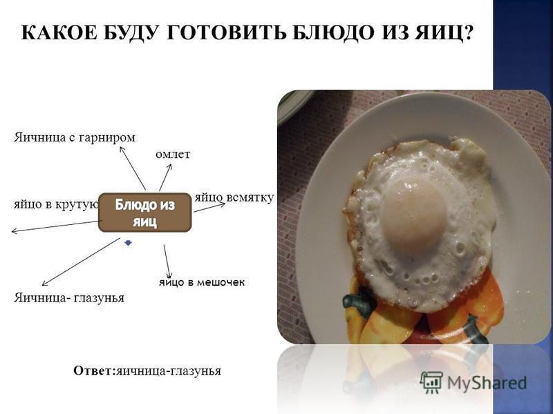 Яичница с гарниром омлет яйцо в крутую всмятку яйцо в мешочек Яичница- глазунья Ответ:яичница-глазунья яйцо всмятку КАКОЕ БУДУ ГОТОВИТЬ БЛЮДО ИЗ ЯИЦ?