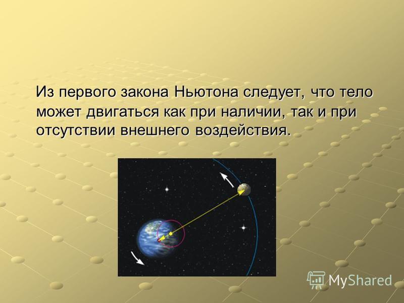 Из первого закона Ньютона следует, что тело может двигаться как при наличии, так и при отсутствии внешнего воздействия. Из первого закона Ньютона следует, что тело может двигаться как при наличии, так и при отсутствии внешнего воздействия.