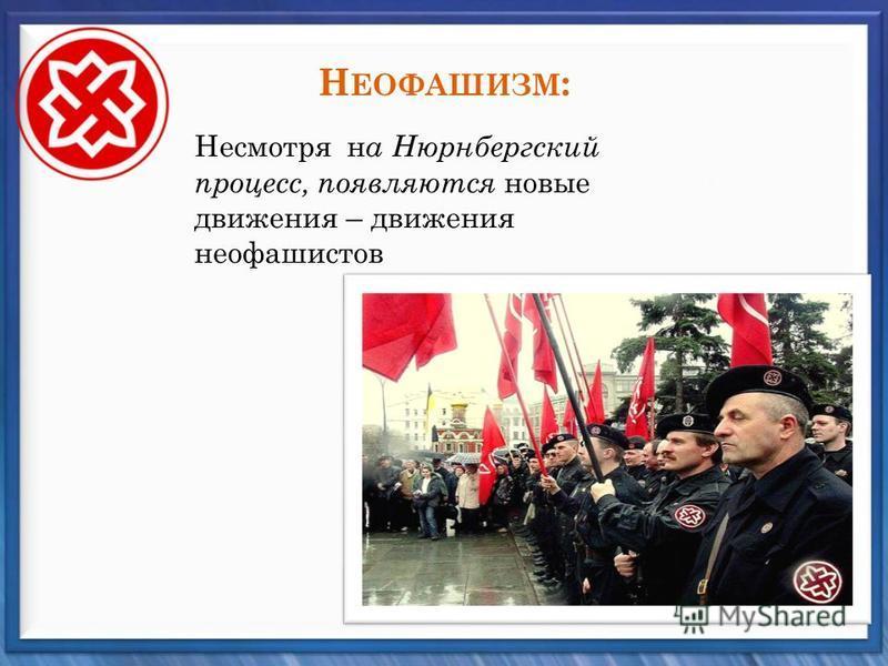 Н ЕОФАШИЗМ : Несмотря н а Нюрнбергский процесс, появляются новые движения – движения неофашистов