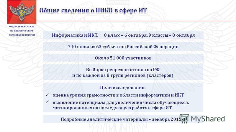 Общие сведения о НИКО в сфере ИТ 740 школ из 63 субъектов Российской Федерации Цели исследования: оценка уровня грамотности в области информатики и ИКТ выявление потенциала для увеличения числа обучающихся, мотивированных на последующую работу в сфер