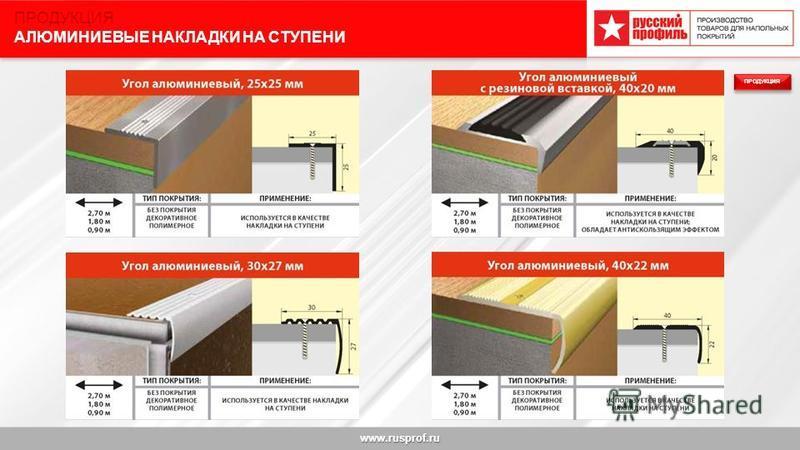 www.rusprof.ru ПРОДУКЦИЯ АЛЮМИНИЕВЫЕ НАКЛАДКИ НА СТУПЕНИ ПРОДУКЦИЯ