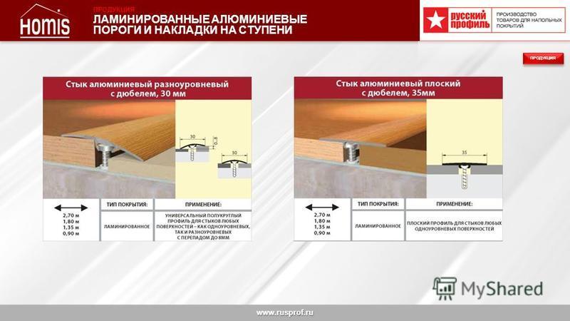 www.rusprof.ru ПРОДУКЦИЯ ЛАМИНИРОВАННЫЕ АЛЮМИНИЕВЫЕ ПОРОГИ И НАКЛАДКИ НА СТУПЕНИ ПРОДУКЦИЯ