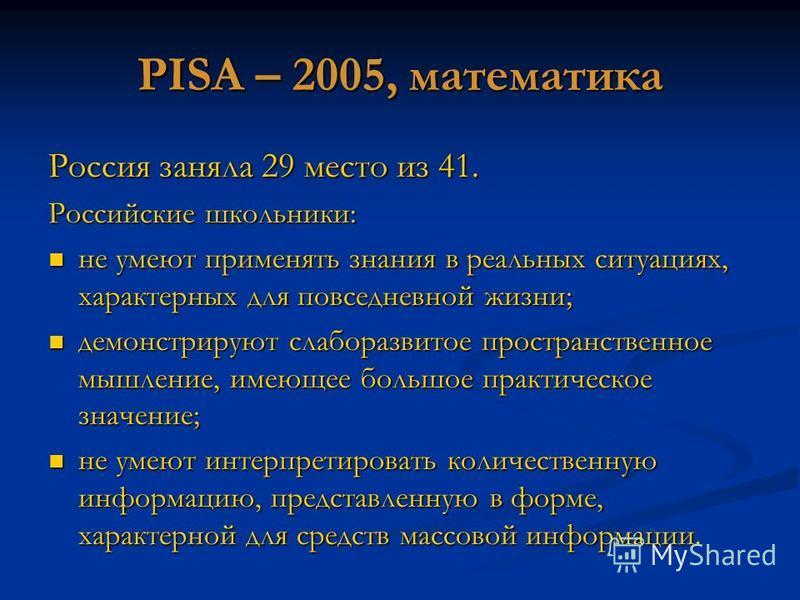 PISA – 2005, математика Россия заняла 29 место из 41. Российские школьники: не умеют применять знания в реальных ситуациях, характерных для повседневной жизни; не умеют применять знания в реальных ситуациях, характерных для повседневной жизни; демонс