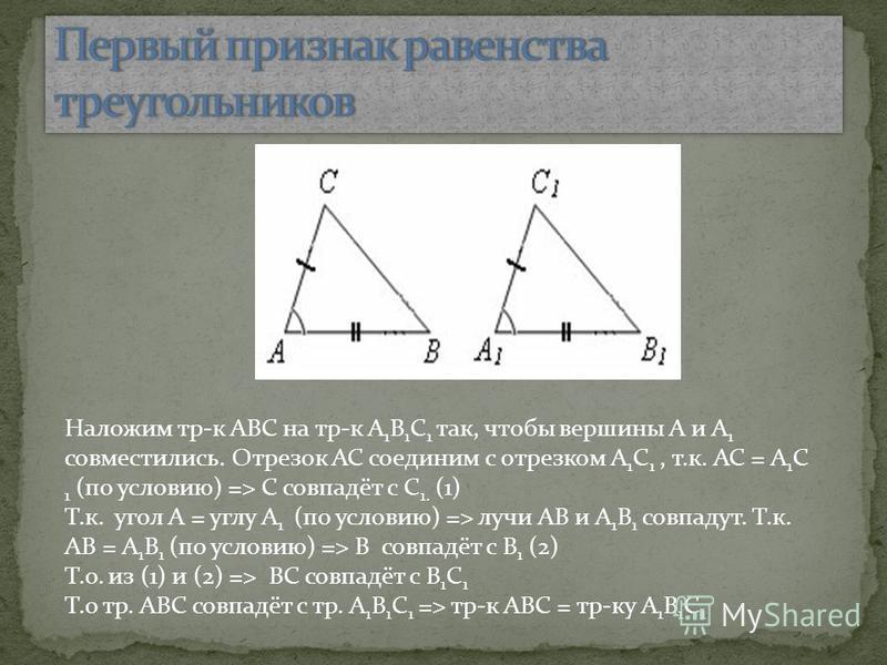 Наложим тр-к ABC на тр-к A 1 B 1 C 1 так, чтобы вершины A и A 1 совместились. Отрезок AC соединим с отрезком A 1 C 1, т.к. AC = A 1 C 1 (по условию) => C совпадёт с C 1. (1) Т.к. угол A = углу A 1 (по условию) => лучи AB и A 1 B 1 совпадут. Т.к. AB =