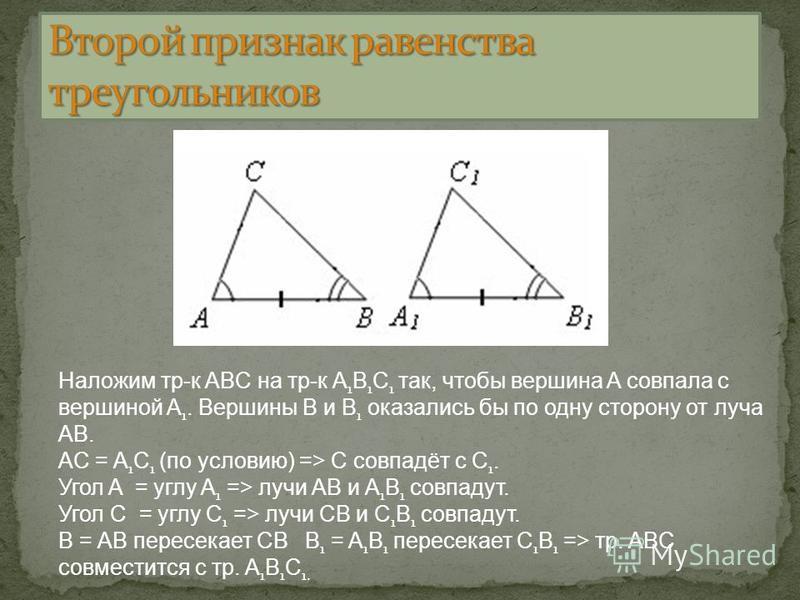 Наложим тр-к ABC на тр-к A 1 B 1 C 1 так, чтобы вершина A совпала с вершиной A 1. Вершины B и B 1 оказались бы по одну сторону от луча AB. AC = A 1 C 1 (по условию) => C совпадёт с C 1. Угол A = углу A 1 => лучи AB и A 1 B 1 совпадут. Угол С = углу С
