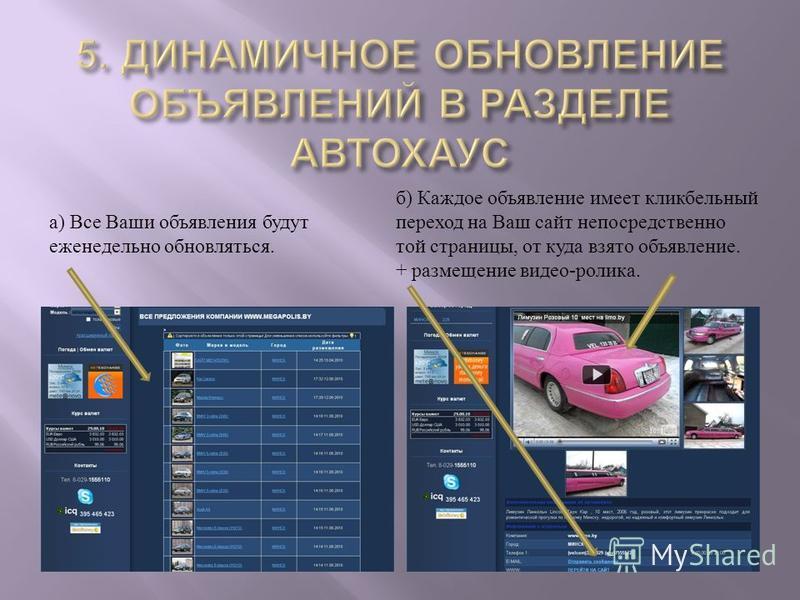 б ) Каждое объявление имеет кликбельный переход на Ваш сайт непосредственно той страницы, от куда взято объявление. + размещение видео - ролика. а ) Все Ваши объявления будут еженедельно обновляться.