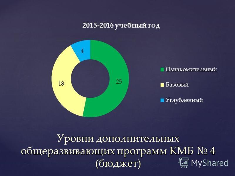 Уровни дополнительных общеразвивающих программ КМБ 4 (бюджет)