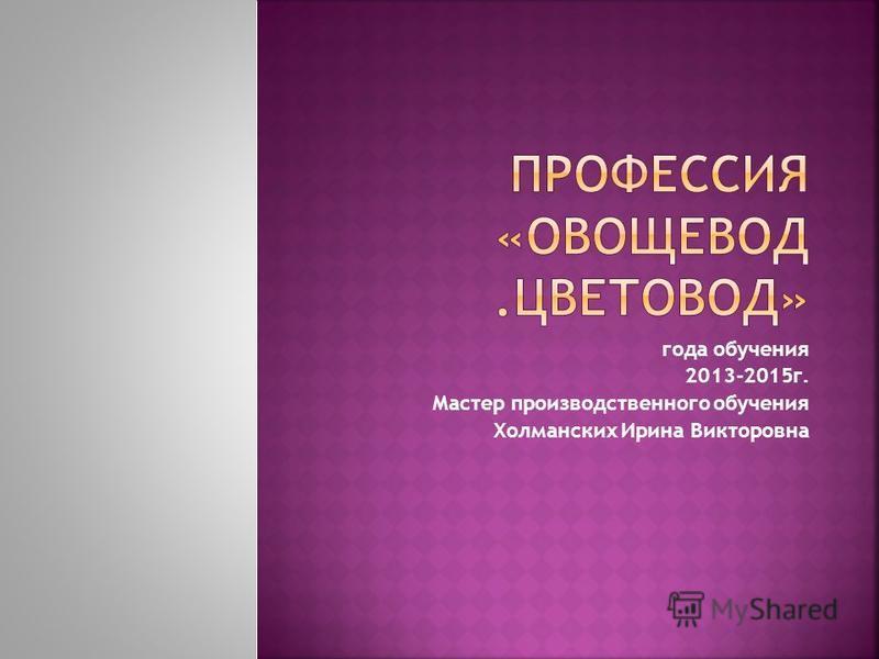 года обучения 2013-2015 г. Мастер производственного обучения Холманских Ирина Викторовна