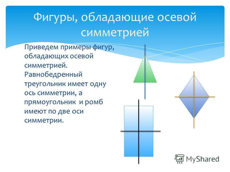 Приведем примеры фигур, обладающих осевой симметрией. Равнобедренный треугольник имеет одну ось симметрии, а прямоугольник и ромб имеют по две оси симметрии. Фигуры, обладающие осевой симметрией