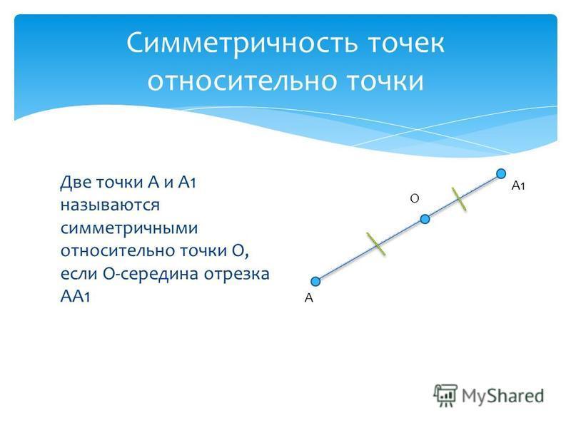Две точки А и А1 называются симметричными относительно точки О, если О-середина отрезка АА1 Симметричность точек относительно точки А О А1