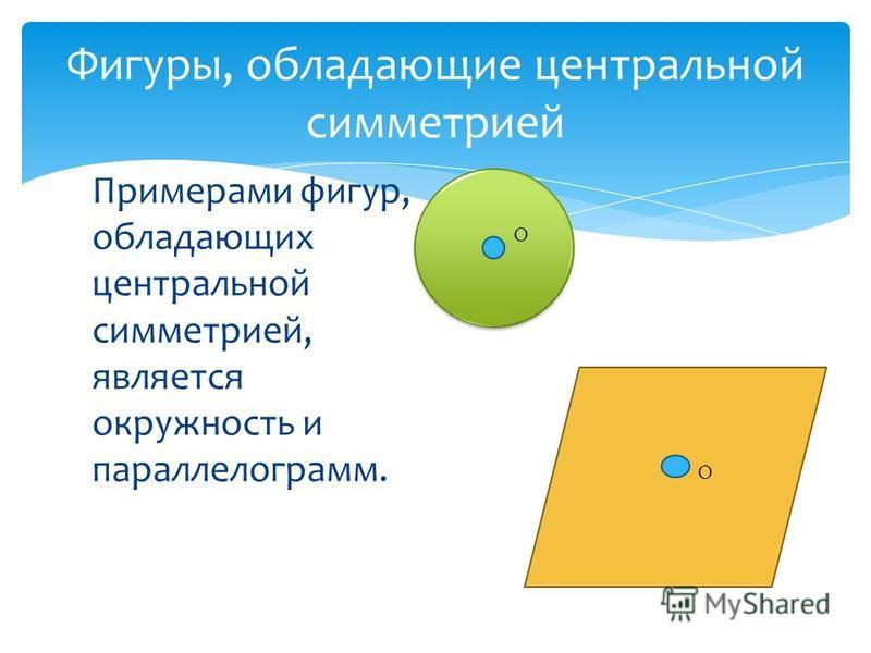 Примерами фигур, обладающих центральной симметрией, является окружность и параллелограмм. Фигуры, обладающие центральной симметрией О О