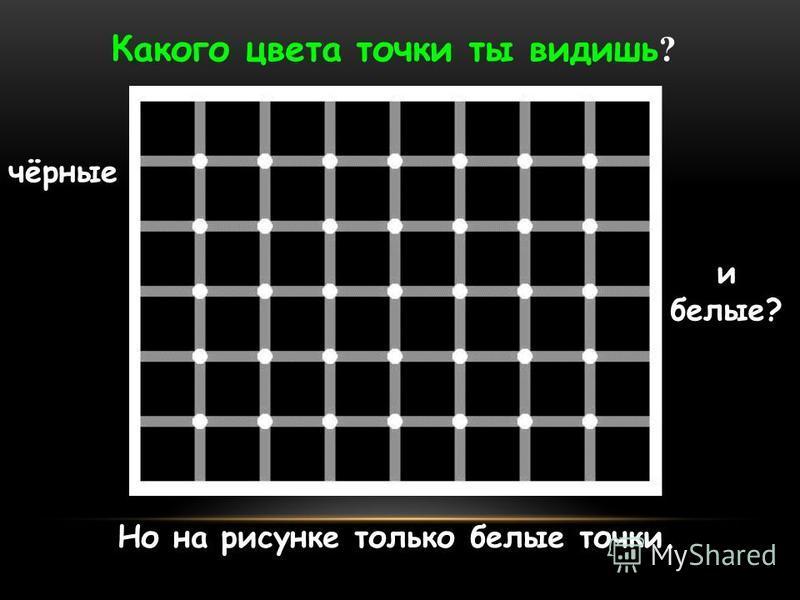 Но на рисунке только белые точки. Какого цвета точки ты видишь ? чёрные и белые?