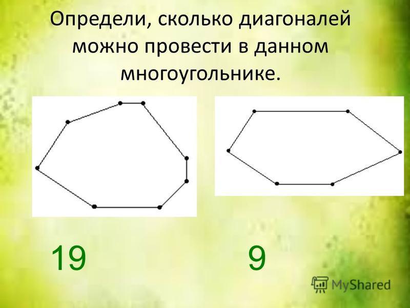 Определи, сколько диагоналей можно провести в данном многоугольнике. 199