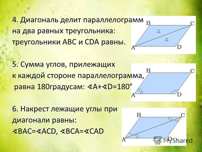 4. Диагональ делит параллелограмм на два равных треугольника: треугольники ABC и CDA равны. 5. Сумма углов, прилежащих к каждой стороне параллелограмма, равна 180 градусам: A+ D=180° 6. Накрест лежащие углы при диагонали равны: BAC= ACD, BCA= CAD