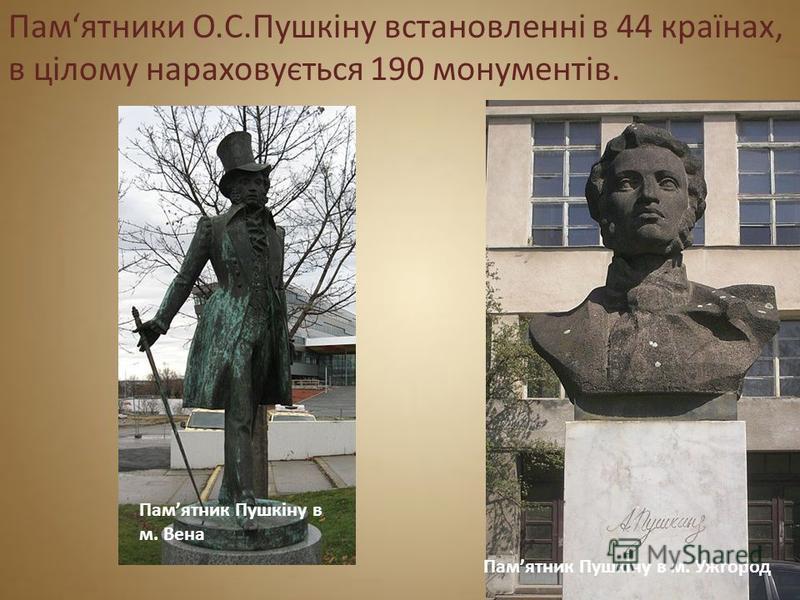 Памятники О.С.Пушкіну встановленні в 44 країнах, в цілому нараховується 190 монументів. Памятник Пушкіну в м. Вена Памятник Пушкіну в м. Ужгород