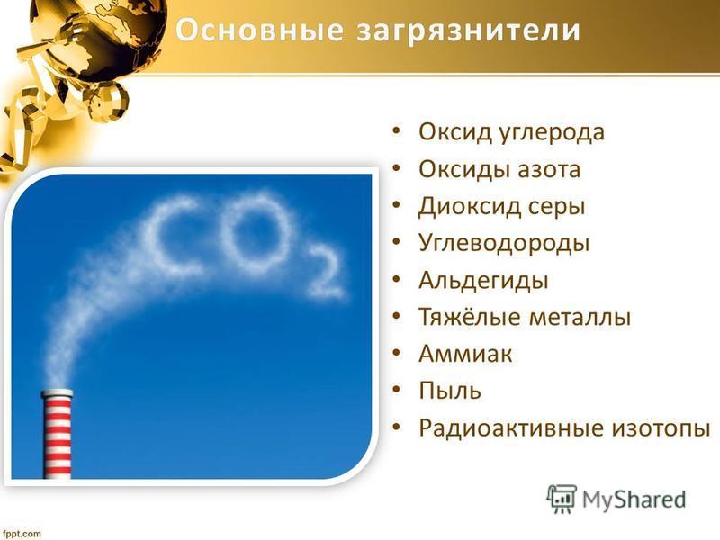 Основные загрязнители Основные загрязнители Оксид углерода Оксиды азота Диоксид серы Углеводороды Альдегиды Тяжёлые металлы Аммиак Пыль Радиоактивные изотопы