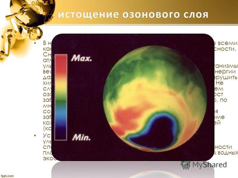 истощение озонового слоя истощение озонового слоя В настоящее время истощение озонового слоя признано всеми как серьезная угроза глобальной экологической безопасности. Снижение концентрации озона ослабляет способность атмосферы защищать все живое на