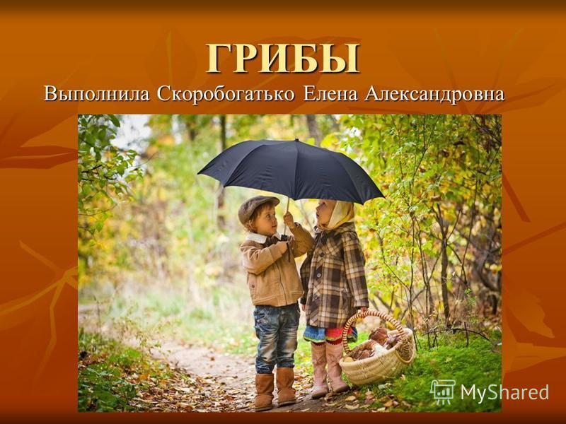 ГРИБЫ Выполнила Скоробогатько Елена Александровна
