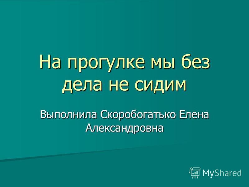 На прогулке мы без дела не сидим Выполнила Скоробогатько Елена Александровна