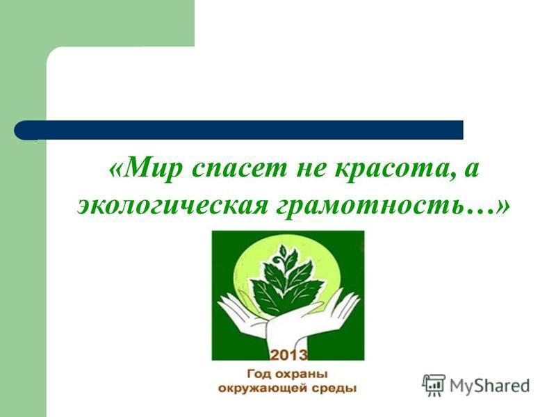 «Мир спасет не красота, а экологическая грамотность…»
