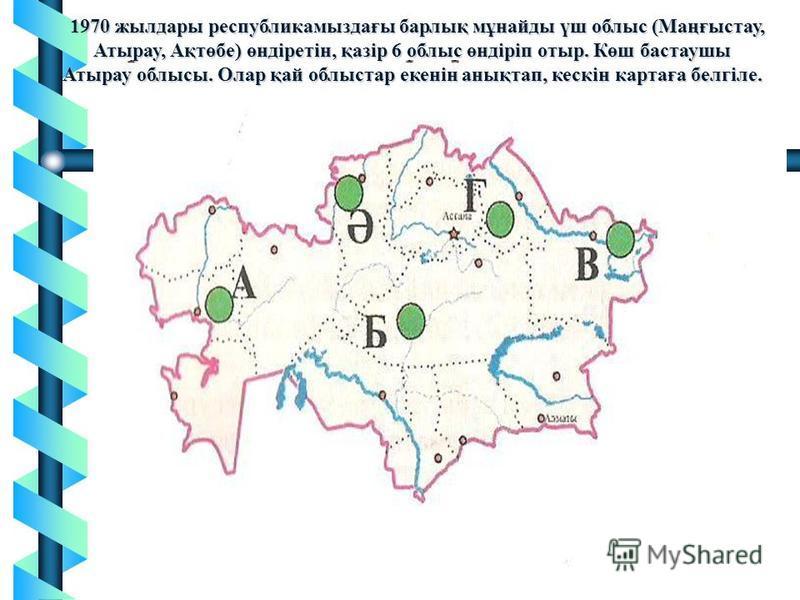 1970 жылдары республикамыздағы барлық мұнайды үш облыс (Маңғыстау, Атырау, Ақтөбе) өндіретін, қазір 6 облыс өндіріп отыр. Көш бастаушы Атырау облысы. Олар қай облыстар екенін анықтап, кескін картаға белгіле. 1970 жылдары республикамыздағы барлық мұна