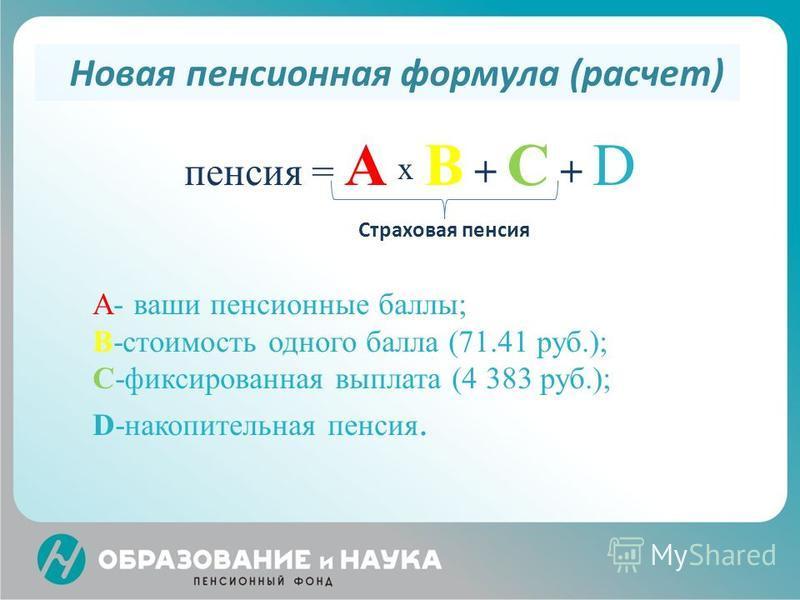 пенсия = А х В + С + D A- ваши пенсионные баллы; B-стоимость одного балла (71.41 руб.); C-фиксированная выплата (4 383 руб.); D-накопительная пенсия. Новая пенсионная формула (расчет) Страховая пенсия