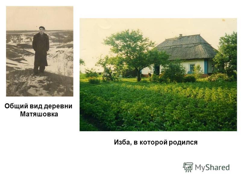 Изба, в которой родился Общий вид деревни Матяшовка