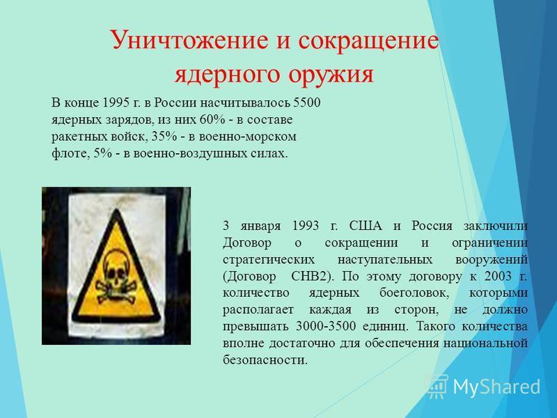 Уничтожение и сокращение ядерного оружия 3 января 1993 г. США и Россия заключили Договор о сокращении и ограничении стратегических наступательных вооружений (Договор СНВ2). По этому договору к 2003 г. количество ядерных боеголовок, которыми располага