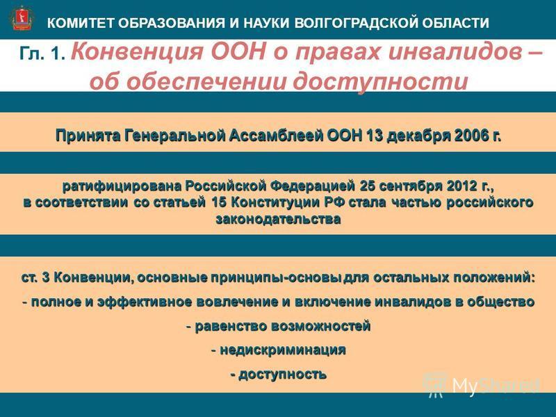 Гл. 1. Конвенция ООН о правах инвалидов – об обеспечении доступности КОМИТЕТ ОБРАЗОВАНИЯ И НАУКИ ВОЛГОГРАДСКОЙ ОБЛАСТИ Принята Генеральной Ассамблеей ООН 13 декабря 2006 г. ст. 3 Конвенции, основные принципы-основы для остальных положений: - полное и
