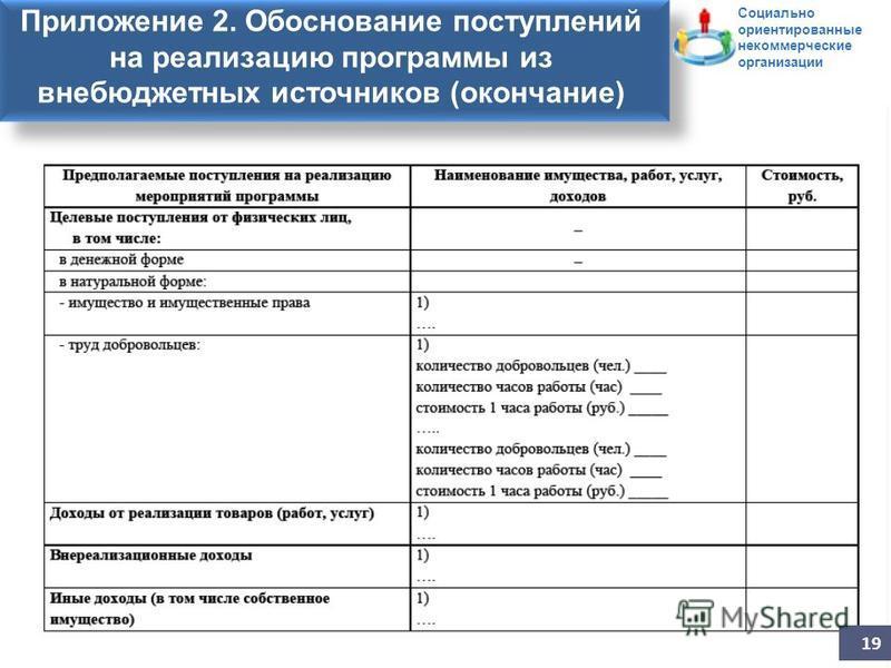 Заявление на участие в конкурсе Приложение 2. Обоснование поступлений на реализацию программы из внебюджетных источников (окончание) 19 Социально ориентированные некоммерческие организации