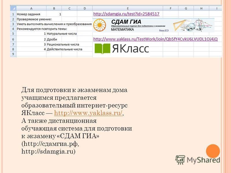 Для подготовки к экзаменам дома учащимся предлагается образовательный интернет-ресурсе Класс http://www.yaklass.ru/,http://www.yaklass.ru/ А также дистанционная обучающая система для подготовки к экзамену «СДАМ ГИА» (http://сдамгиа.рф, http://sdamgia