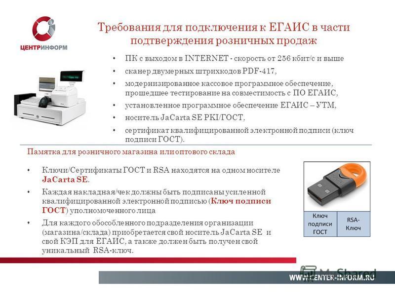 ПК с выходом в INTERNET - скорость от 256 кбит/с и выше сканер двумерных штрихкодов PDF-417, модернизированное кассовое программное обеспечение, прошедшее тестирование на совместимость с ПО ЕГАИС, установленное программное обеспечение ЕГАИС – УТМ, но