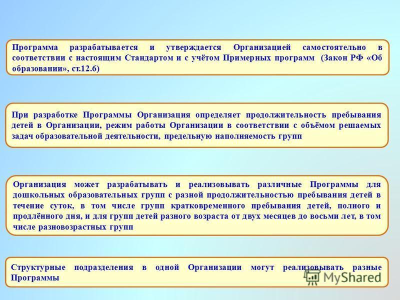 Программа разрабатывается и утверждается Организацией самостоятельно в соответствии с настоящим Стандартом и с учётом Примерных программ (Закон РФ «Об образовании», ст.12.6) Структурные подразделения в одной Организации могут реализовывать разные Про