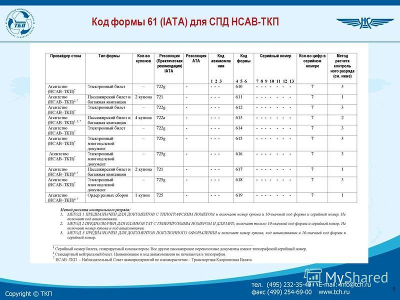 1 Код формы 61 (IATA) для СПД НСАВ-ТКП