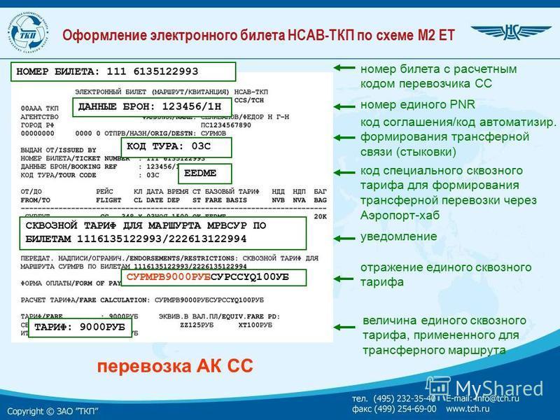 Оформление электронного билета НСАВ-ТКП по схеме М2 ET ТАРИФ: 9000РУБ НОМЕР БИЛЕТА: 111 6135122993 номер билета с расчетным кодом перевозчика CC КОД ТУРА: 03C ЕЕDМE ДАННЫЕ БРОН: 123456/1Н номер единого PNR перевозка АК CC код соглашения/код автоматиз