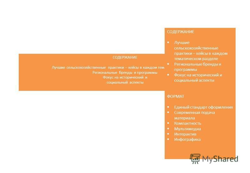 СОДЕРЖАНИЕ Лучшие сельскохозяйственные практики – кейсы в каждом тематическом разделе Региональные бренды и программы Фокус на исторический и социальный аспекты ФОРМАТ Единый стандарт оформления Современная подача материала Компактность Мультимедиа И