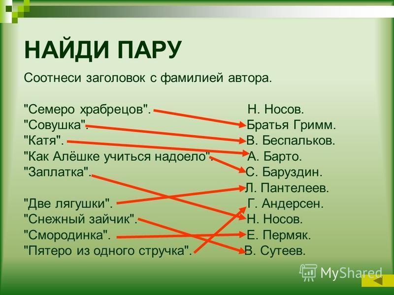 НАЙДИ ПАРУ Соотнеси заголовок с фамилией автора.