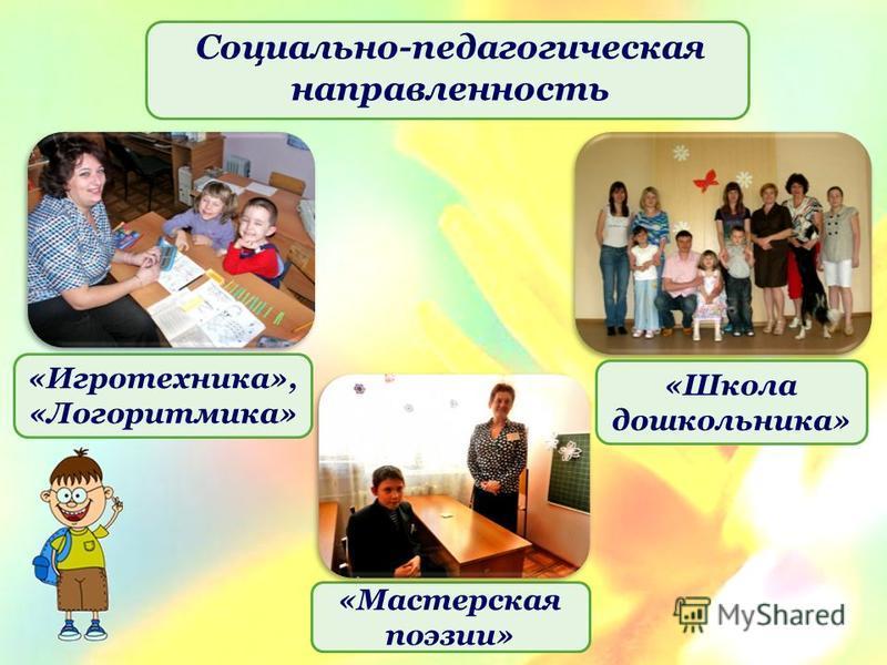 Социально-педагогическая направленность «Игротехника», «Логоритмика» «Школа дошкольника» «Мастерская поэзии»
