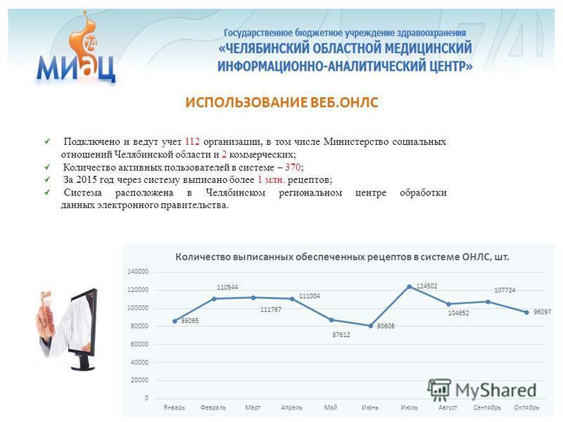 Подключено и ведут учет 112 организации, в том числе Министерство социальных отношений Челябинской области и 2 коммерческих; Количество активных пользователей в системе – 370; За 2015 год через систему выписано более 1 млн. рецептов; Система располож