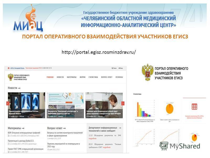 http://portal.egisz.rosminzdrav.ru/ ПОРТАЛ ОПЕРАТИВНОГО ВЗАИМОДЕЙСТВИЯ УЧАСТНИКОВ ЕГИСЗ