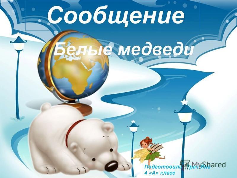 Сообщение Белые медведи Подготовила Трач Яна 4 «А» класс