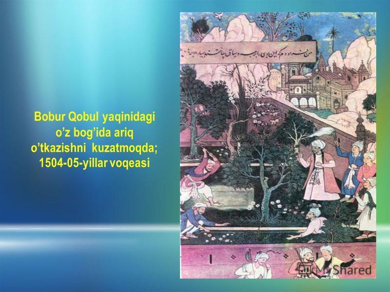 Bobur Qobul yaqinidagi oz bogida ariq otkazishni kuzatmoqda; 1504-05-yillar voqeasi