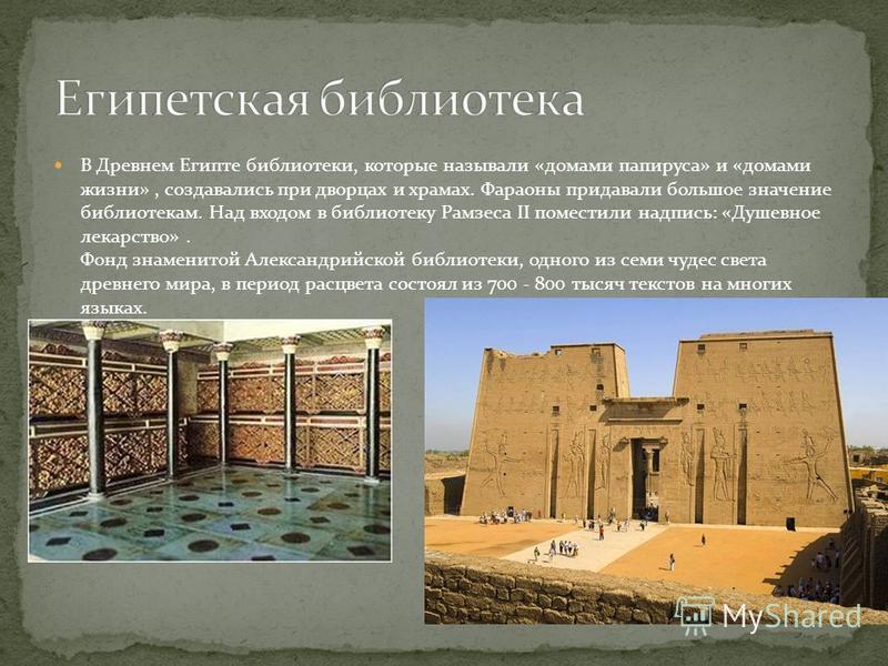В Древнем Египте библиотеки, которые называли «домами папируса» и «домами жизни», создавались при дворцах и храмах. Фараоны придавали большое значение библиотекам. Над входом в библиотеку Рамзеса II поместили надпись: «Душевное лекарство». Фонд знаме