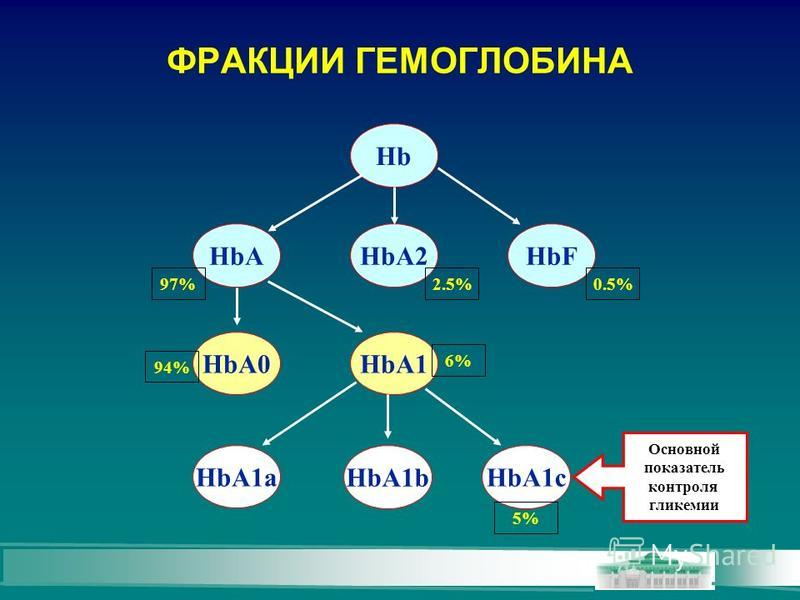 ФРАКЦИИ ГЕМОГЛОБИНА Hb HbAHbA2HbF HbA0HbA1 HbA1b HbA1a HbA1c 97% 6% 5% 2.5% 0.5% 94% Основной показатель контроля гликемии