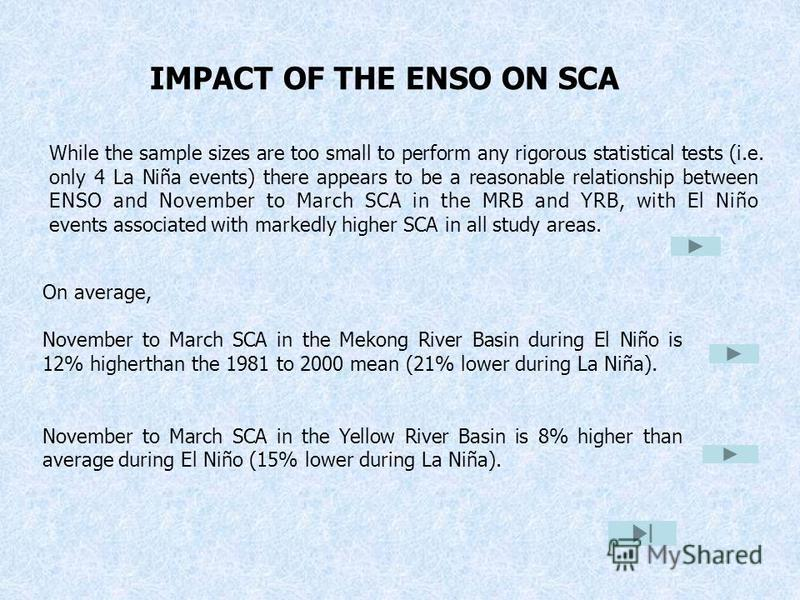 While the sample sizes are too small to perform any rigorous statistical tests (i.e. only 4 La Niña events) there appears to be a reasonable relationship between ENSO and November to March SCA in the MRB and YRB, with El Niño events associated with m