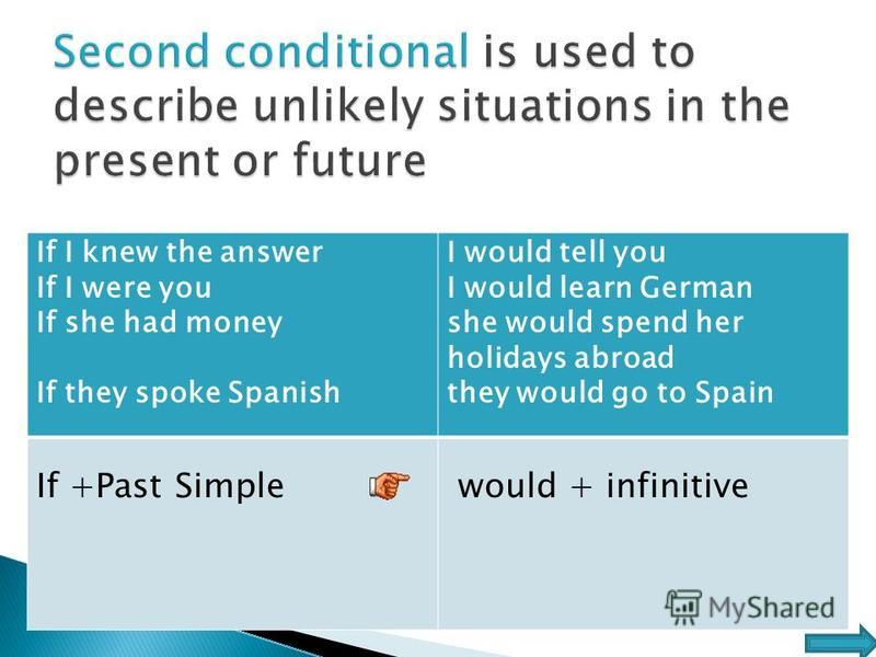If I knew the answer If I were you If she had money If they spoke Spanish I would tell you I would learn German she would spend her holidays abroad they would go to Spain If +Past Simple would + infinitive