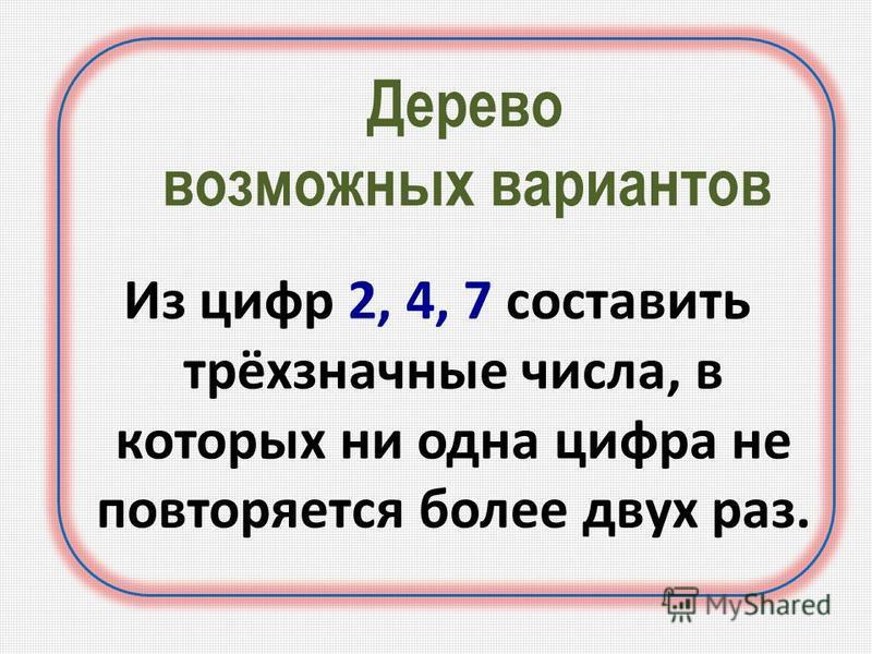 Дерево возможных вариантов Из цифр 2, 4, 7 составить трёхзначные числа, в которых ни одна цифра не повторяется более двух раз.