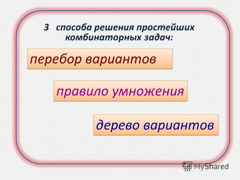 3 способа решения простейших комбинаторных задач: перебор вариантов правило умножения дерево вариантов