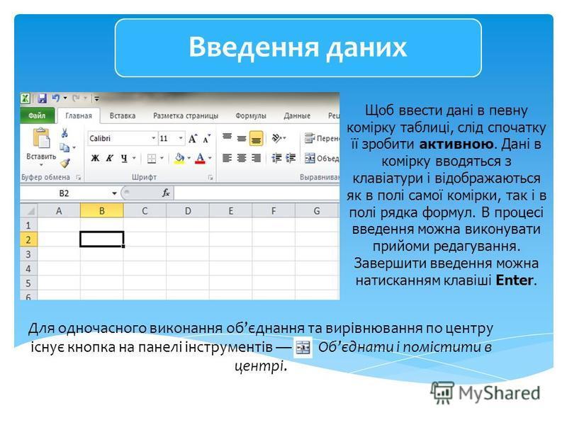 Щоб ввести дані в певну комірку таблиці, слід спочатку її зробити активною. Дані в комірку вводяться з клавіатури і відображаються як в полі самої комірки, так і в полі рядка формул. В процесі введення можна виконувати прийоми редагування. Завершити